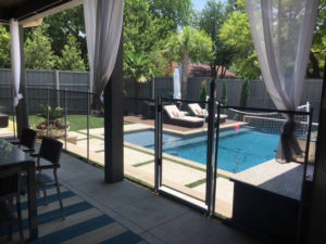 A custom 4 foot tall removable mesh safety fence